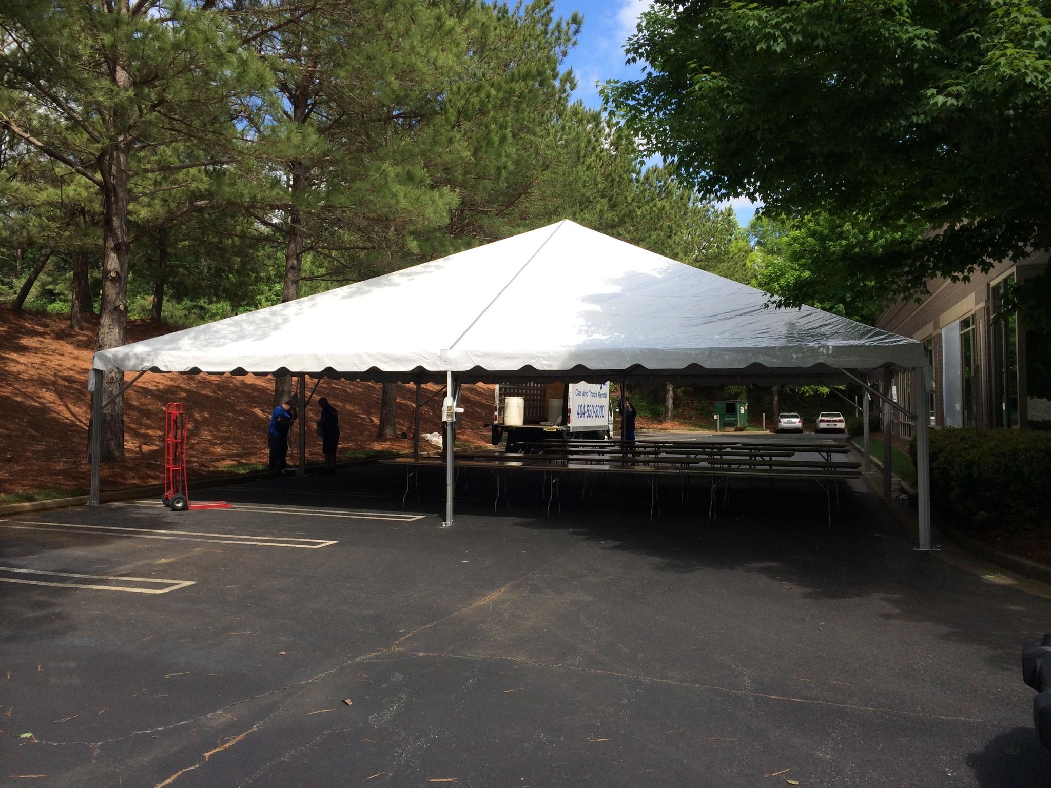 40 39 x 40 39 frame tent installed. Black Bedroom Furniture Sets. Home Design Ideas