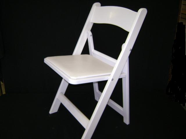 White Folding Resin Chair With Padded Seat